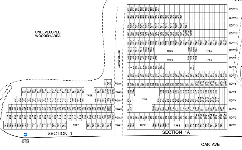 Cedar Grove Cemetery Maps - Sections 1 and 1A